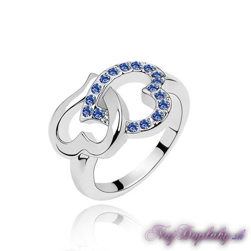 prsten srdcovy modry